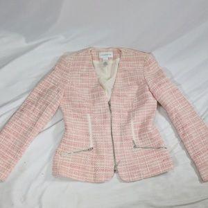 LIZ CLAIBORNE Pink Wool Collarless Zip Blazer